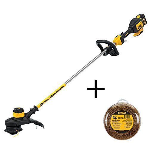 DEWALT 13 in. 20-Volt MAX Lithium-Ion Cordless Brushless String Trimmer with 5.0Ah Battery, Charger and Bonus 0.080 in. by DEWALT