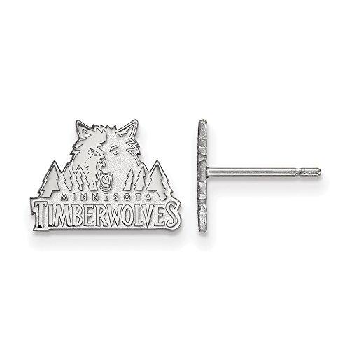 NBA Minnesota Timberwolves X-Small Post Earrings in 14K White Gold by LogoArt