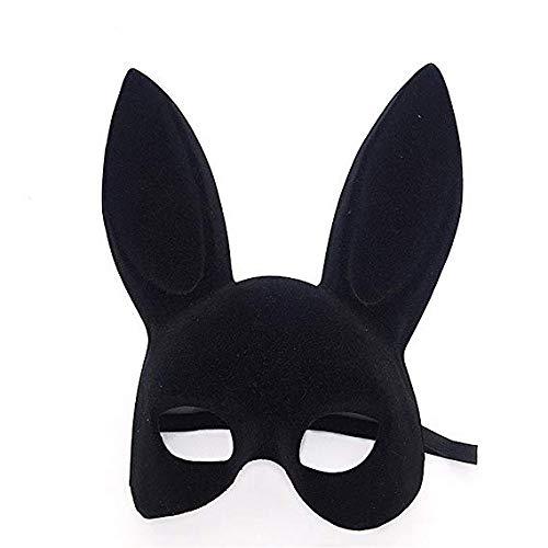 MMMMM Face mask Shield Veil Guard Screen Domino False Front Double-Sided Flocking Rabbit Ears Bunny mask bar New Year Party Dance Fun Rabbit mask Black,Black