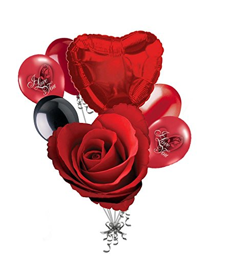 Love Balloon Bouquet (7 pc Classic Red Rose Love Happy Valentines Day Balloon Bouquet Mine Hug Kiss Sweetest)