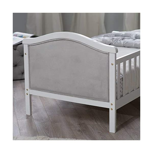 Toddler Bed with Soft Tufted Headboard, Kids Wood Bed Frame with Half Side Rails 4