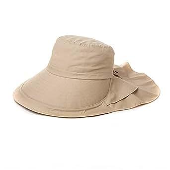 Siggi Summer Bill Flap Cap UPF 50+ Cotton Sun Hat with Neck Cover Cord Wide Brim for Women Khaki