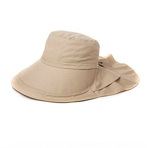 Siggi Summer Bill Flap Cap UPF 50+ Cotton Sun Hat with Neck Cover Cord Wide Brim for Women ()