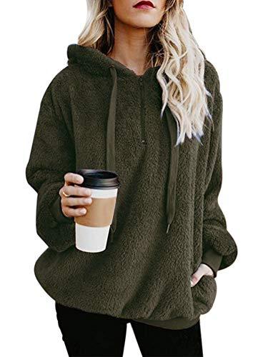 Womens Casual Loose Fuzzy Furry Sherpa 1/4 Zip Side Pockets Pull On Sweatshirt Outwear Army Green S