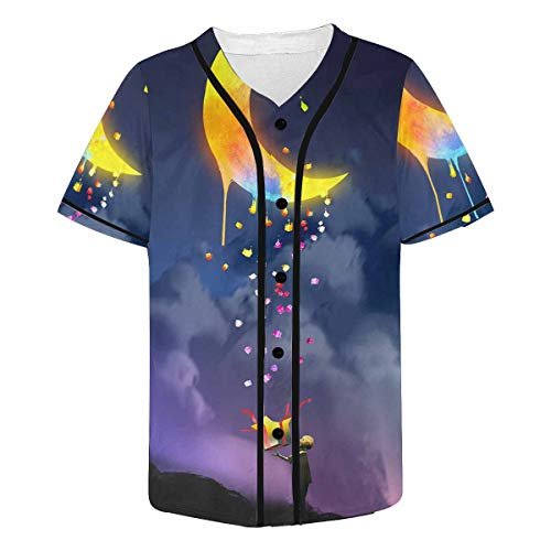 INTERESTPRINT Men's Colorful Moon Baseball Jersey T-Shirts Plain Button Down Sports Tee L