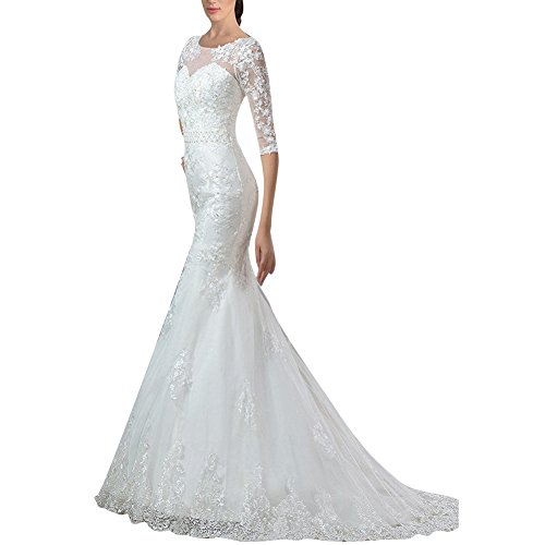 H Half White Long Gown Dress Wedding Women Sweetheart s D Bridal Sleeve Lace Mermaid S rZqYUr