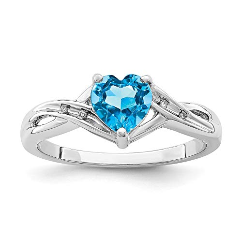 925 Sterling Silver Diamond Swiss Blue Topaz Heart Band Ring Size 6.00 S/love Gemstone Fine Jewelry Gifts For Women For Her