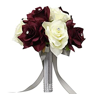 "Angel Isabella, LLC Bouquet Corsage Boutonniere-Burgundy Cream Ivory Faux Flower Wedding Prom Homecoming Dance Event Flowers (8""-Style B) 53"