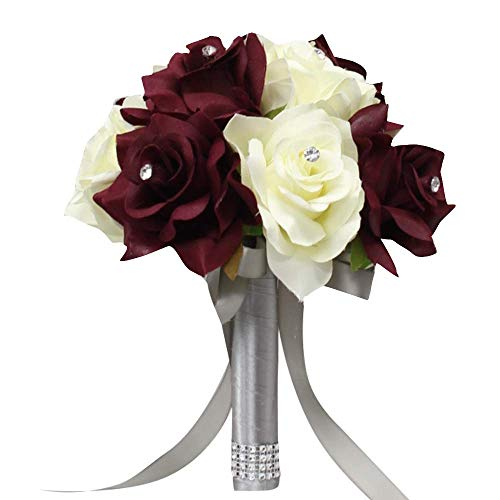 Angel Isabella, LLC Bouquet Corsage Boutonniere-Burgundy Cream Ivory Faux Flower Wedding Prom Homecoming Dance Event Flowers (8