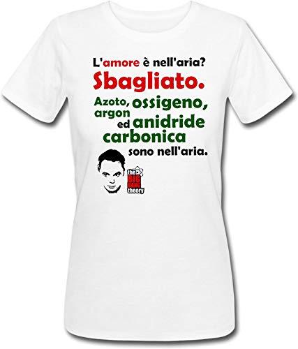 T-shirt donna L'amore è nell'aria? Sbagliato! Azoto ossigeno anidride carbonica sono nell'aria. Citazione divertente Sheldon Cooper The Big Bang Theory serie tv inspired!