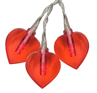 "Star Led-Lightchain ""Heart"", 15-lights 15 red LED, length 2,8 m Timer, battery operated, window box with ,,,"