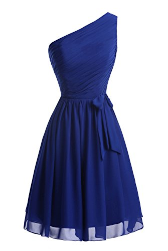 Chiffon Women's Short Bridal Red with Bow Bridesmaid Dresses Bess Shoulder One fIwgx