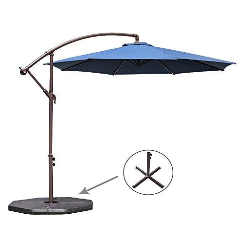 Le Papillon 10-ft Offset Hanging Patio Umbrella Aluminum Outdoor Cantilever Umbrella Crank Lift, Dark Blue by Le Papillon