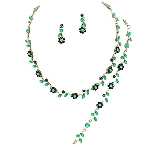 - Affordable Wedding Jewelry Emerald Greeb Crystal 3 PCS Set Gold Necklace Bracelet Earring Bridal Formal (Green)