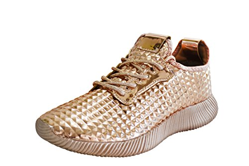 ROXY ROSE Women Metallic Leather Sneaker Lightweight Quilted Lace Up Pyramid Studded 10 B(M) US, Rose Gold