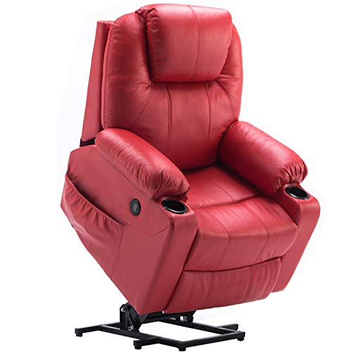 Mcombo Electric Power Lift Massage Sofa Recliner Heated Chair Lounge w/Remote Control USB Charging Ports, 7045 (Red)