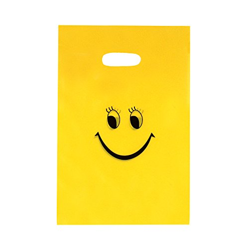 Zicome 50 Pack Emoji Goody Bags for Kids Birthday Party Favors, 9 Inch by 6 (Kids Birthday Party Favor Bags)
