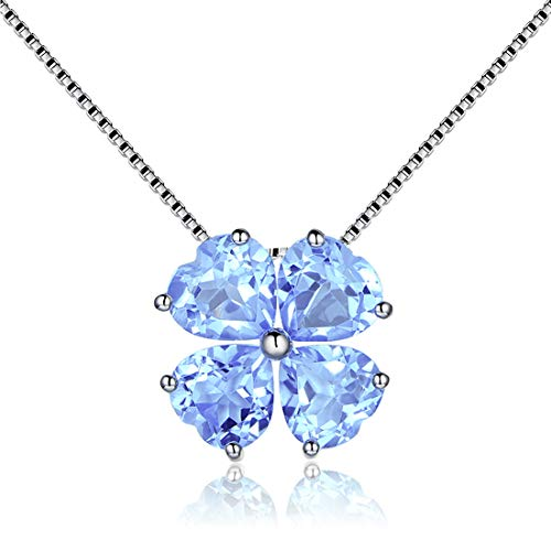 JiangXin Birthstone Platinum Plated Pendant Necklace for Women Lucky Four-leaf-clover 925 Sterling Silver Fine Jewelry for Women Christmas Gift