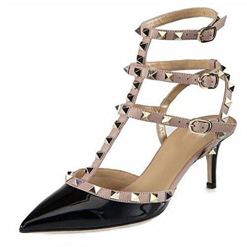 jushee Women's Stiletto talons hauts Rivets Studded Closed poin Ted Toe brevets Dress Pumps Noir EUWrIY