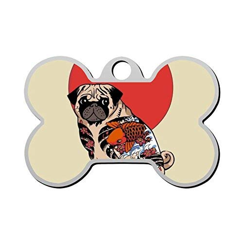 Ruffian Pug Tattoo Pet Id Tag Personalized for Dog Cats Double Sided Dog Tag Custom Pet Identification Tag Bone Pet Tag Dog for Lover Gifts