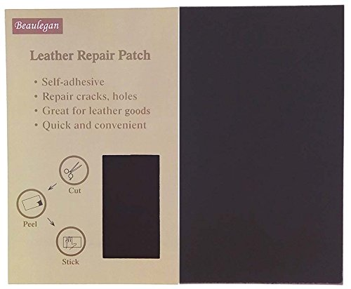 Beaulegan Leather Patch - Adhesive Backing - Repair Sofa, Car Seat, Jackets, Shoes and Handbag, 10 Inch by 6 Inch, Black