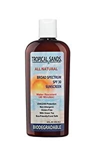Tropical Sands All Natural Biodegradable Water Resistant Sunscreen – SPF 30 – 8 fl Ounces – Great…