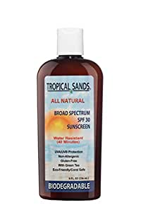 Natural Sunscreen, SPF 30, Biodegradable, Reef Safe by Tropical Sands, Fragrance Free, 8 fl oz
