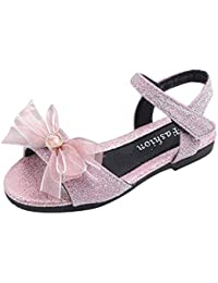 Toddler Kids Baby Girls Summer Bowknot Peep Toe Solid Sweet Party Princess Shoes Velcro Flats Sandals