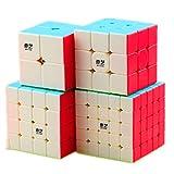 CuberSpeed Speedcubing Bundle Qiyi Qidi S 2X2 & Qiyi Warrior W 3x3 & Qiyi Qiyuan S 4X4 & qizheng s 5X5 Stickerless Bright Magic cube Stickerless speed cube set CuberSpeed