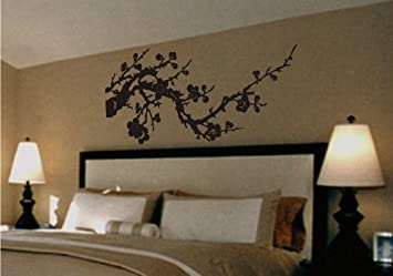 Asian Japanese Cherry Blossom Branch Vinyl Wall Art Decal Wall - Vinyl wall decals asian