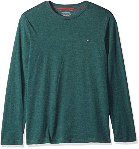 Tommy Hilfiger Mens Core - Tommy Hilfiger Men's Core Flag Long Sleeve Crew Neck, Pond, M
