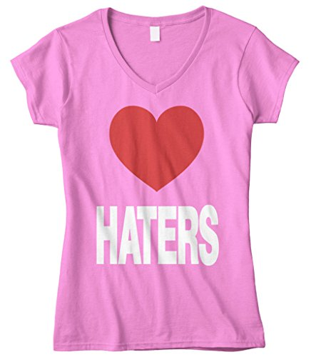 Cybertela Women's Love Haters, Funny Red Heart Fitted V-Neck T-Shirt (Pink, (Heart Love Ladies Fitted Tee)
