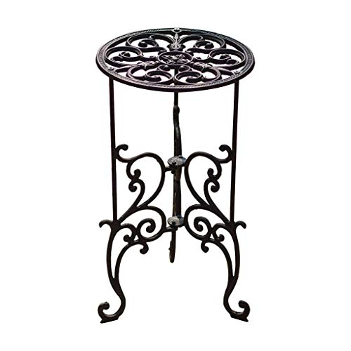 MBD Classic Pattern Cast Iron Flower Stand, Garden Outdoor Round Side Table for Balcony Terrace 19.311.011.0in
