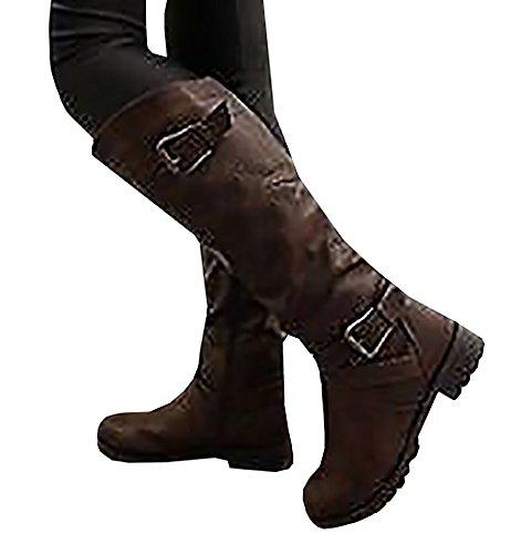 Minetom Damen Herbst Winter Langschaft Stiefel Über Knie Stiefel mit Wölbung Round Toe Stiefeletten Mode Warm Boots Winterstiefel Braun