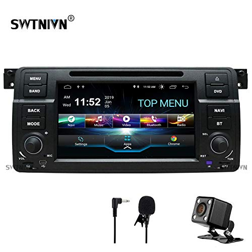 SWTNVIN Car Stereo Compatible with BMW 3 Series 1999 2000 2001 2002 2003 2004(E46) Rover75 MG ZT Android 9.0 2G RAM 32G ROM 7 Inch HD Car Radio Support BT GPS TPMS Steering Wheel DVD Play