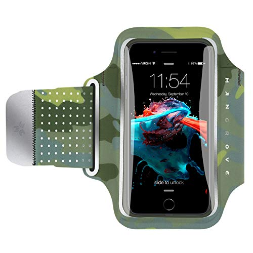 Water Resistant Cell Phone Armband for iPhone8 Plus, 7 Plus, 6, Samsung Galaxy Note 8, S8, Google Pixel, 5-6 Inch Reflective Running Workout Exercise Arm Phone Holder, Key/Card Holder + Free Extender