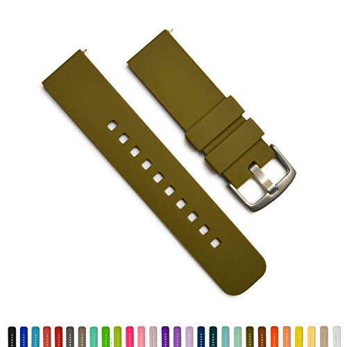 GadgetWraps 14mm Silicone Watch Band - 14mm Watch Band Silicone with Quick Release Watch Pins - Accessories for Men and Women 14mm Quick Release Watch Band with 29 Unique Colors (Olive Green, 14mm)