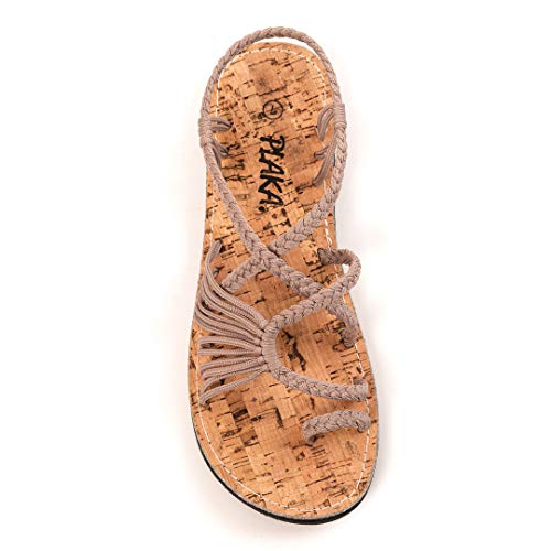 Plaka Sandals for Women Brazilian Sand Size 8 Palm - Ankle Woven Strap Sandals