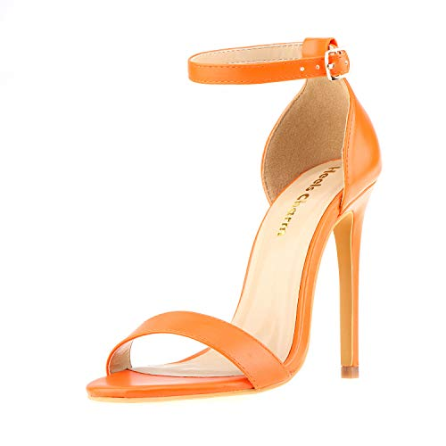 - Women's Open Toe Stiletto High Heel Ankle Strap Sandals for Dress Wedding Party Evening Shoes Orange Size 7.5