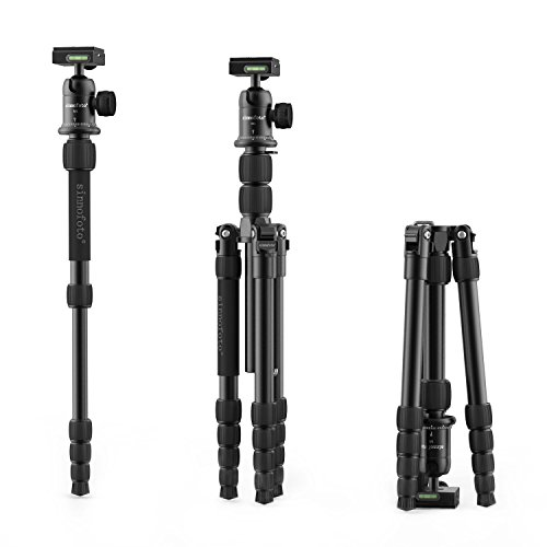 "Camera tripod,Sinnofoto M2522 55.9"" Aluminum Portable Travel Lightweight Tripod Monopod+ 1/4"" Quick Release Plate on 360 Degree Tripod Ball Head For DSRL Canon Nikon Sony Fuji Olympus Sigma"