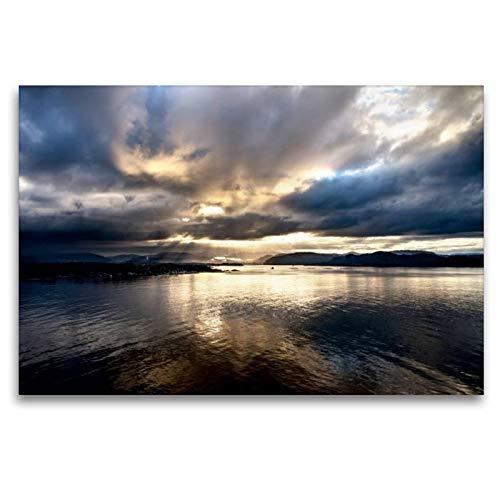 CALVENDO Toile de Grande qualité 120 x 80 cm Quer, Guten Morgen Norvège | Tableau sur châssis | Impression sur Toile véritable Nature