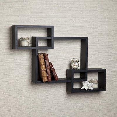 Danya B. YU008BK Intersecting Wall Shelves, Black (Wall Shelf Intersecting Wood)