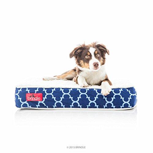 Brindle Orthopedic Memory Foam Pet Bed, Navy Trellis, Small 22 x 16