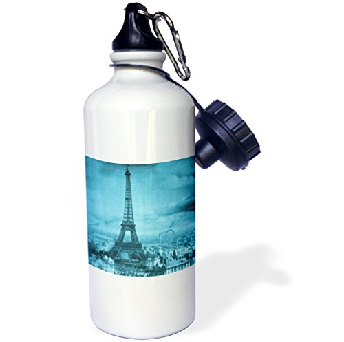 "3dRose wb_6794_1 ""Eiffel Tower Paris France, 1889 Cyan"" Sports Water Bottle, 21 oz, White"