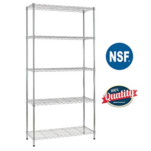 - Bestoffice 5 Shelf Wire Shelving Unit Garage NSF Wire Shelf Metal Large Storage Shelves Heavy Duty Height Adjustable Commercial Grade with 1250 LBS Capacity -14x36x72 Chrome