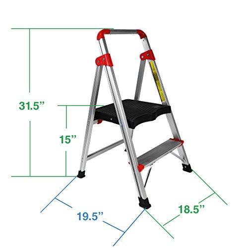 "Clevr 2 Step Aluminum Ladder 33"" Non-slip Platform Lightweight Folding Stool, 230 lbs. Capacity"