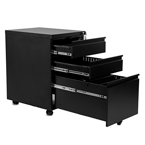 Filing Cabinet Casters (Merax Metal Solid Mobile Storage 3 Drawer File Cabinet with Keys, Fully Assembled Except Casters(Black))