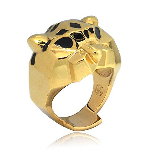 (De Buman 14k Yellow Gold Plated Leopard Enamel Ring)