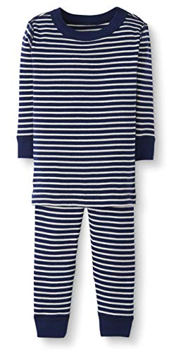 Moon and Back by Hanna Andersson Baby/Toddler 2-Piece Organic Cotton Long Sleeve Stripe Pajama Set, Navy Stripe, 2T]()