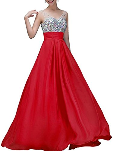 ASBridal Deep V-neck Chiffon Prom Dresses Long Jeweled Formal Evening Prom Gowns Red US 12